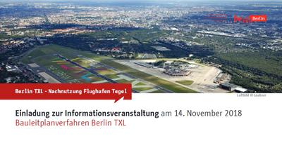 Titelseite Einladungsflyer SenStadtWohn zur Infoveranstaltung Bauleitplanung Berlin TXL