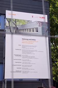"""Bauschild für Außenanlage des Kita- und Familienzentrums """"Menschenskinder"""", Fürstenwalder Str. 30"""