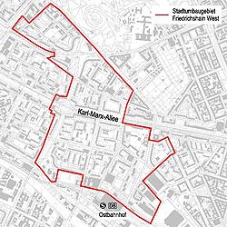 Abgrenzung Stadtumbaugebiet Friedrichshain West