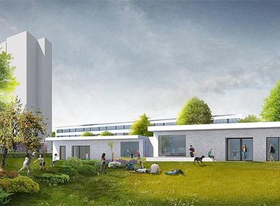 Visualisierung des Neubaus für den Jugendclub © GRUBER + POPP BDA
