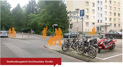 Straßenkreuzung im Wohngebiet Hanns-Eisler-Straße in Berlin mit gelb eingefärbten Silhouetten von Verkehrsteilnehmerinnen und- teilnehmern (Collage)