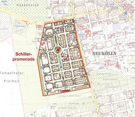 """Abgrenzung des Städtebaufördergebiets """"Lebendiges Zentrum Schillerpromenade"""" (Quelle: Bezirksamt Neukölln)"""
